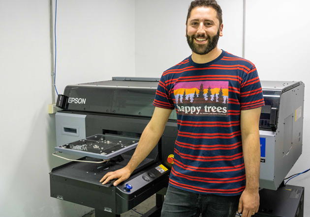 First: Lonely Kids Fashion founder Warwick Levy with the new Epson SC3000