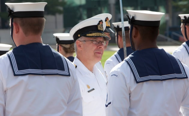 VADM Paul Maddison inspecting a Navy guard at Blamey Barracks during his time as Commander of the Royal Canadian Navy.