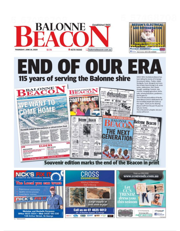 End of an era: Balonne Beacon one of hundreds of community papers unlikely to be seen again