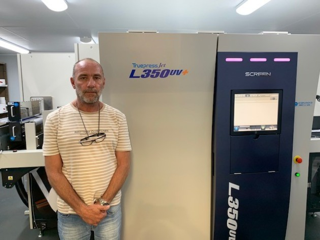 Good fit: Shane Lear, SL&CS, with the Screen Truepress Jet L350UV+.