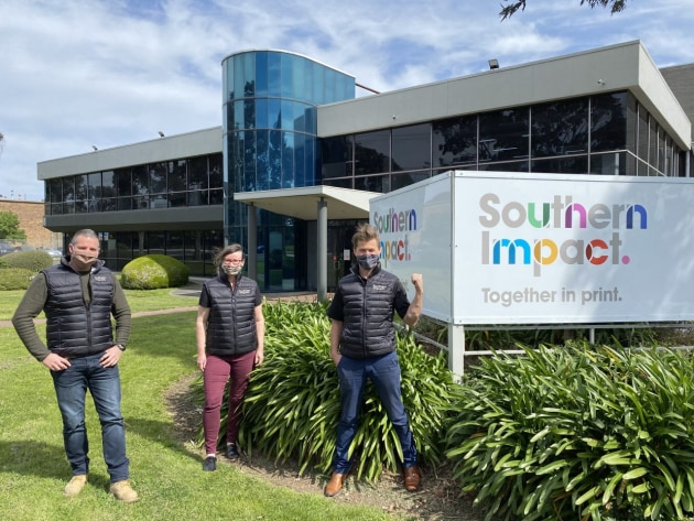 Southern Impact: Pictured outside the factory with the new branding are (l-r) Rod Mills, Adrenne Teague, and Rod Dawson