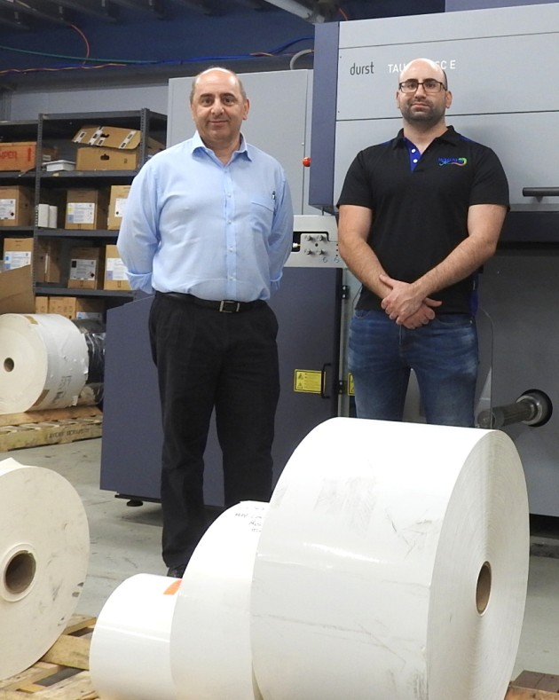 Digital labels now 35%: John Wagner and Chris at Wagner Prestige Labels with the new Durst Tau inkjet digital label press
