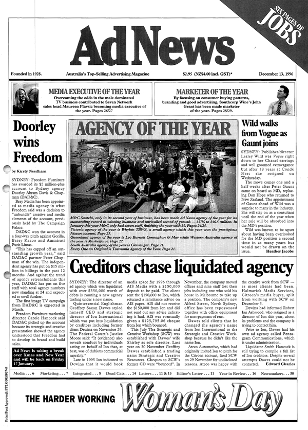 The front page of the December 13 1996 issue of AdNews, when M&C was named Agency of the Year, less than two years after launching as a Sydney agency.