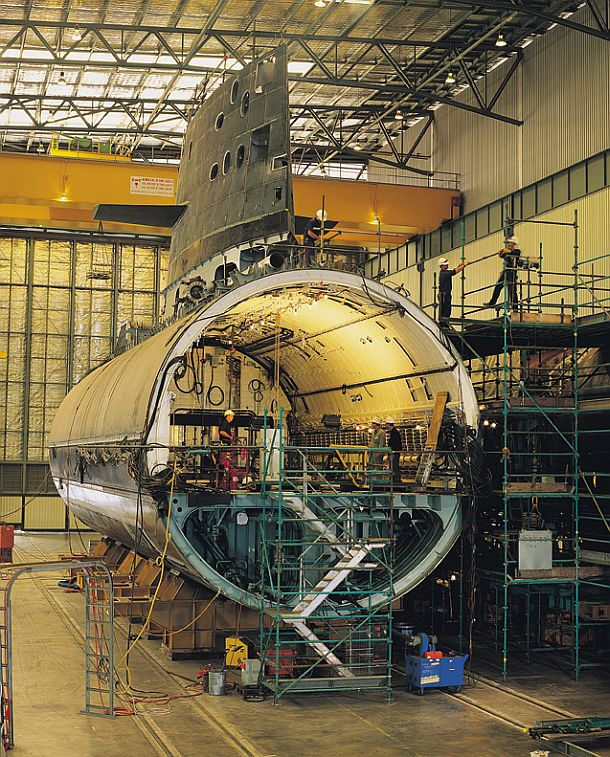 A Collins class submarine under construction at the ASC facility in Osborne. Credit: ASC