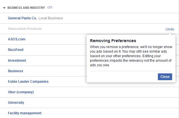 facebook removing ad preferences