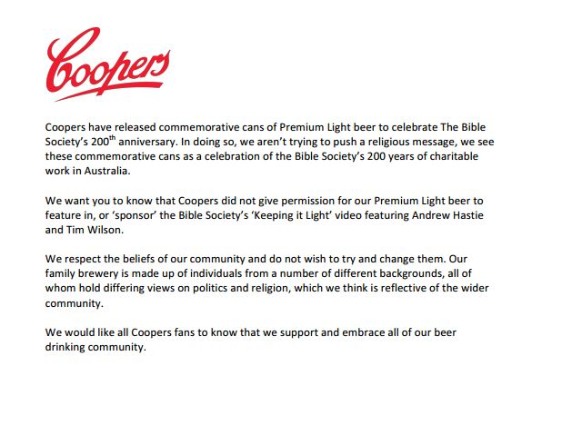SBS spoofs Coopers Bible Society ad as backlash roles on