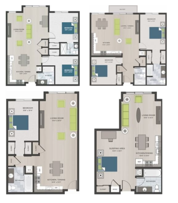 Four two dimensional floor plans.