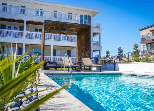 resort pool with cabana