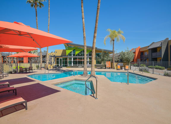 Resort-style amenities  including a pool with sundeck