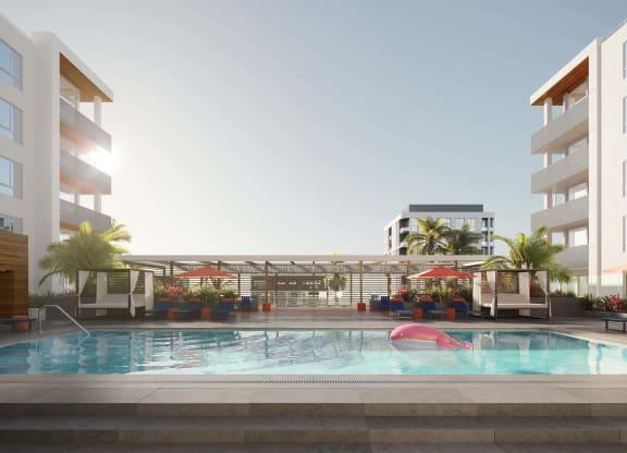 Resort Style Pool at The Q Variel, Woodland Hills, CA