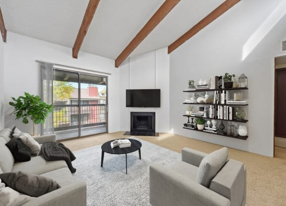 Model living room and private patio