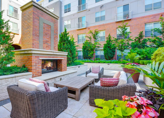 Courtyard Lounge With Fireplace at Windsor at Cambridge Park, Cambridge, Massachusetts