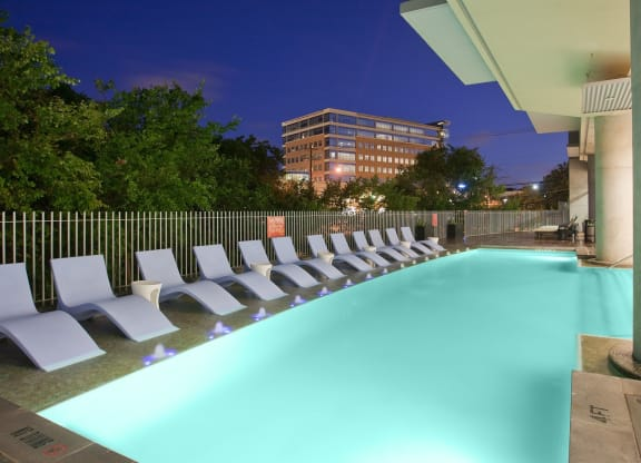 One of Austin's only heated pools at THE MONARCH BY WINDSOR, 801 West Fifth Street, TX