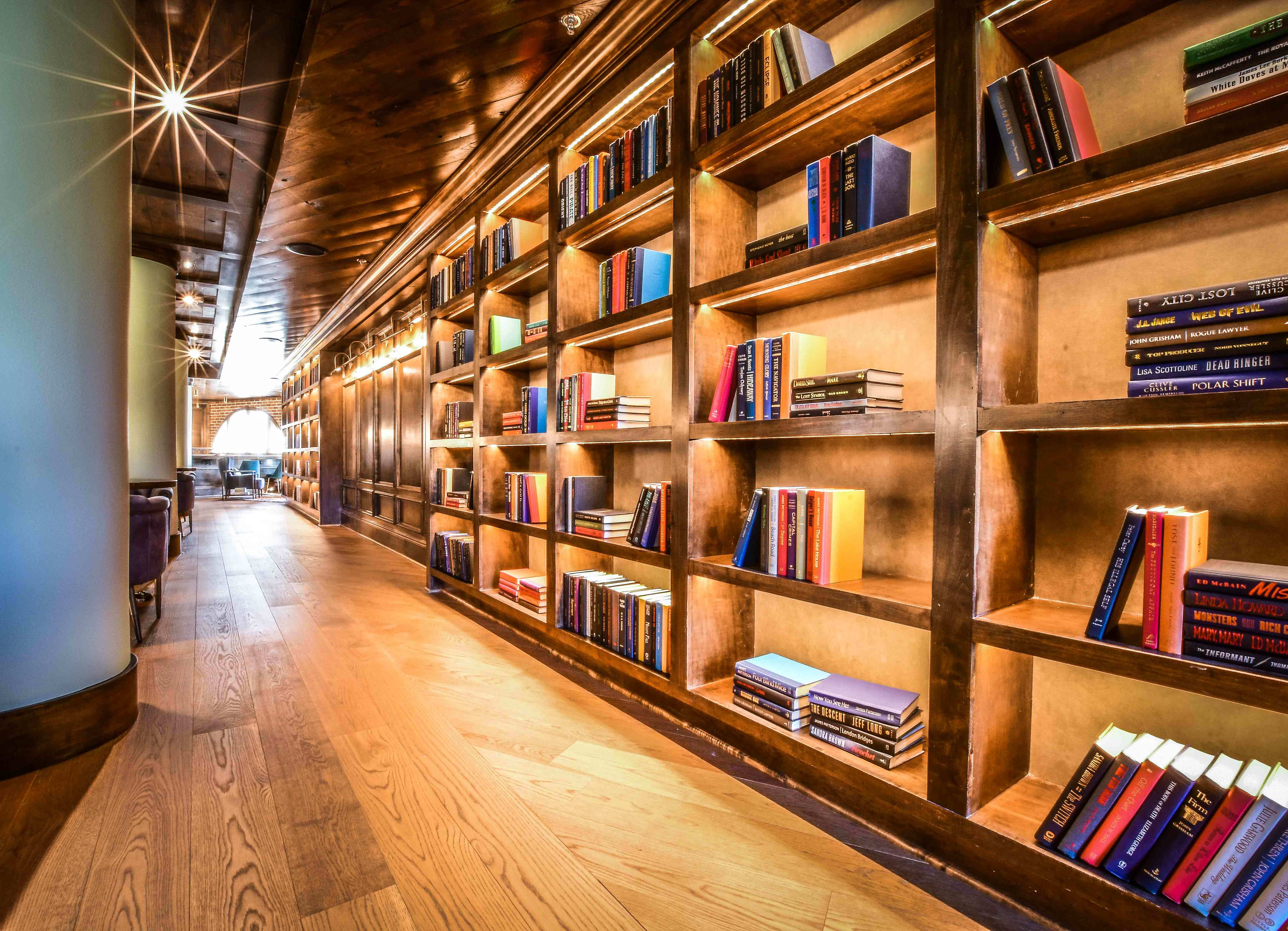 library alcove with books