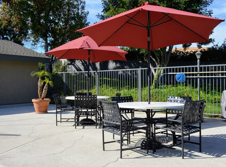 Outdoor Dining Area at Morning View Terrace Apartments, 439 W El Norte Parkway, Ste 102