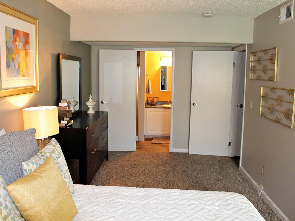 Carpeted Bedroom at Village at Iron Blossom Apartment Homes, Reno, NV