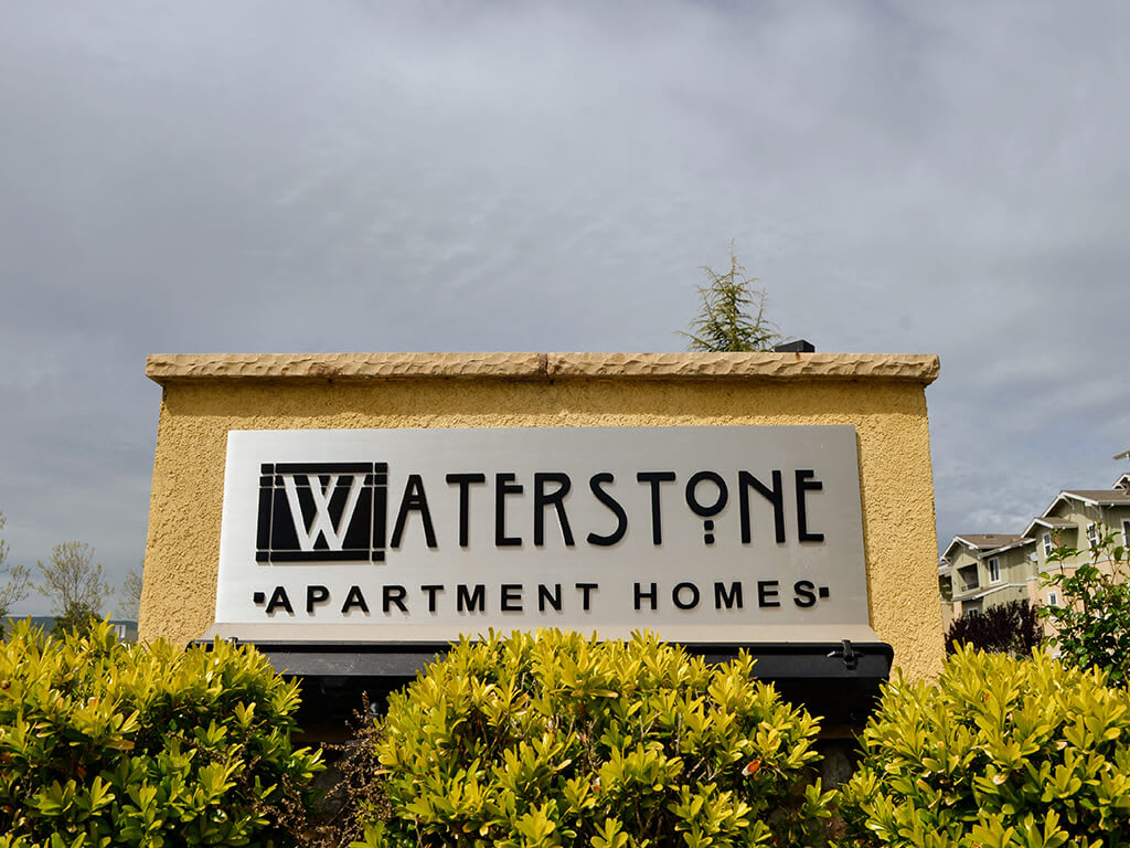 Signage at Waterstone Apartment Homes, 1951 West Middlefield Drive, Tracy