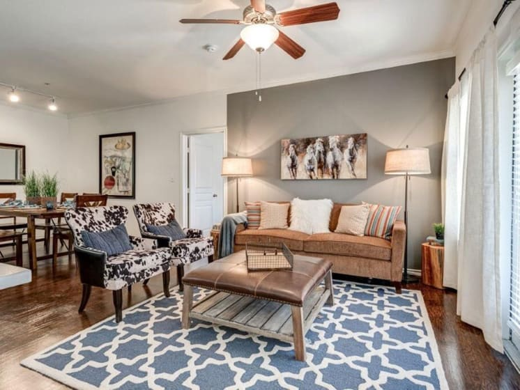 Spacious Living Room at Lost Spurs Ranch Apartments in Roanoke, Texas