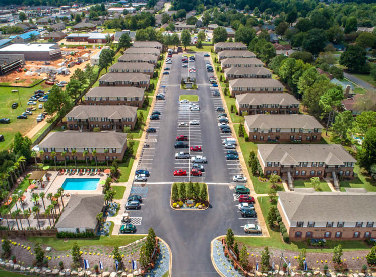 aerial view of The Mills at 601 apartment community