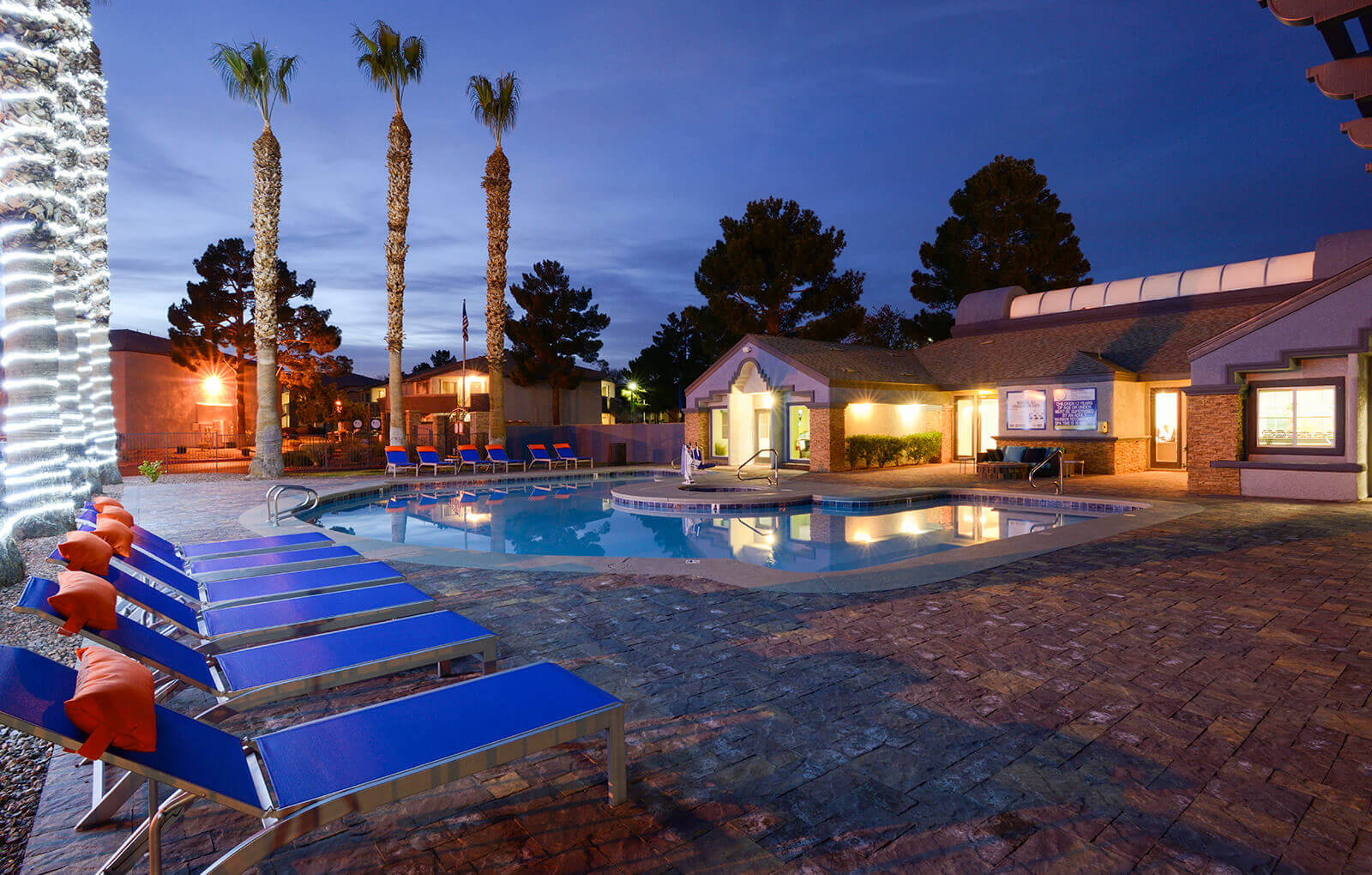 Pool at night, at The Bristol at Sunset, Henderson, Nevada