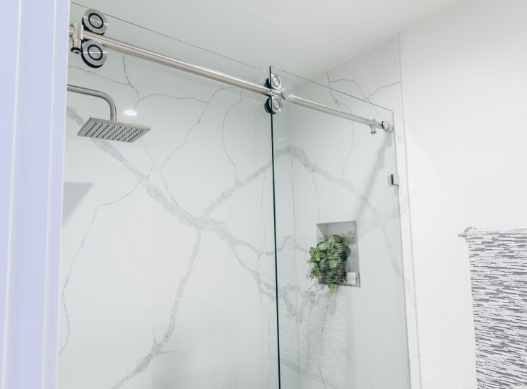 Bathroom with shower stand