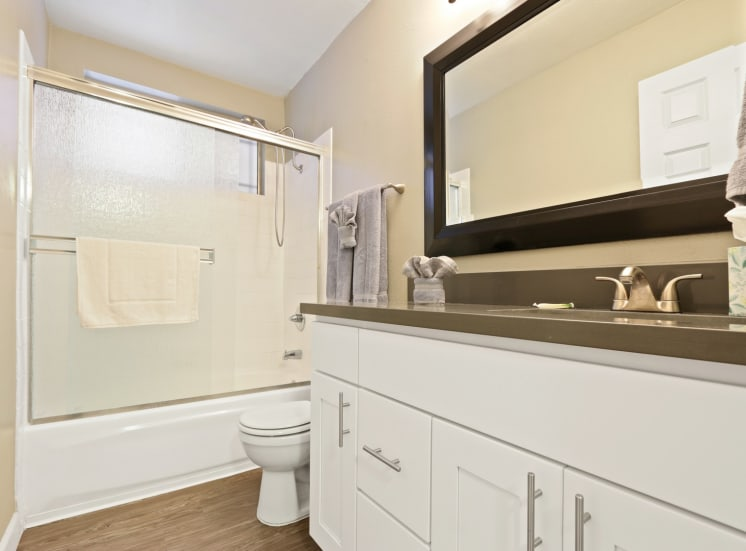 Bathroom with single vanity area, gray quartz counters, shower and hot tub combo, wood-style floors