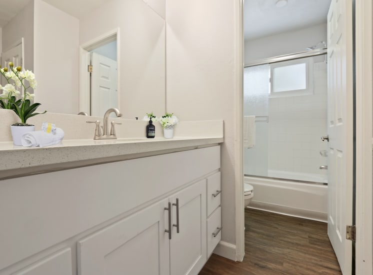Single vanity area with white quartz counters, wood-style floors, bathroom on the right