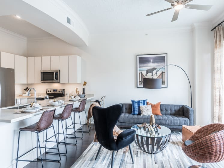 model living room apartments in downtown houston