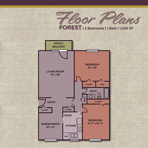 Forest FloorPlan at Gramercy Apartments, Indiana, 46032