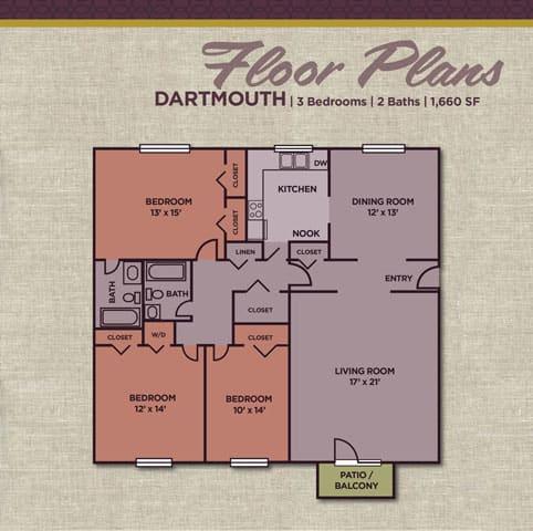 Dartmouth FloorPlan at Gramercy Apartments, Carmel, 46032