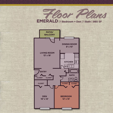 Emerald FloorPlan at Gramercy Apartments, Carmel, IN, 46032