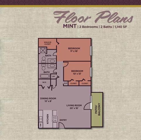 Mint FloorPlan at Gramercy Apartments, Indiana