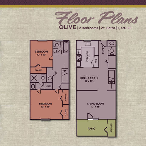 Olive FloorPlan at Gramercy Apartments, Carmel, 46032