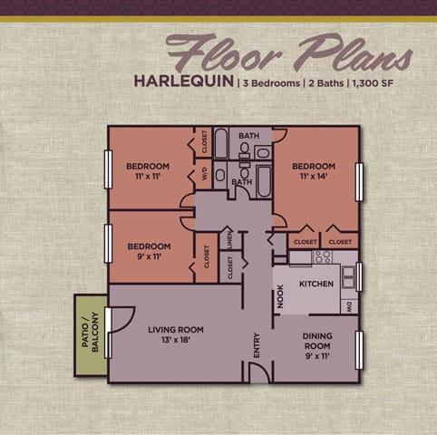 Harlequin FloorPlan at Gramercy Apartments, Carmel, Indiana