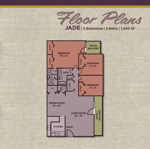 Jade FloorPlan at Gramercy Apartments, Indiana, 46032