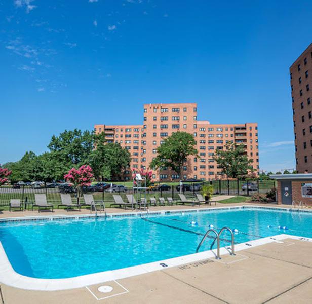Outdoor pool with lounge chairs at Bridgeyard in Alexandria, VA
