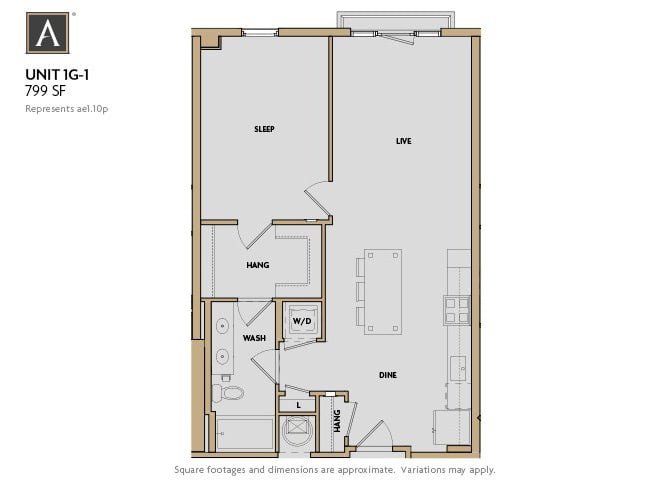 1G-1 FloorPlan at Aertson Midtown, Tennessee, 37203