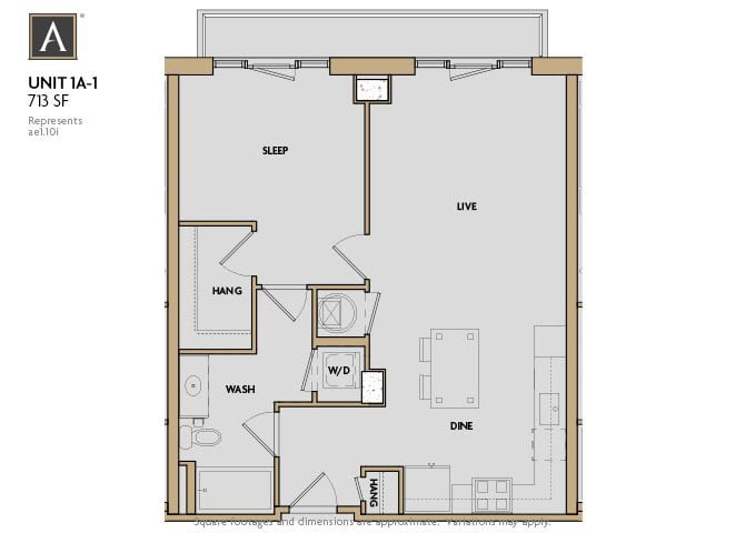 1A-1 FloorPlan at Aertson Midtown, Nashville, TN