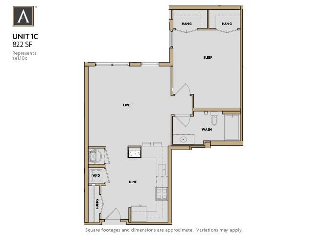 1C FloorPlan at Aertson Midtown, Nashville, Tennessee