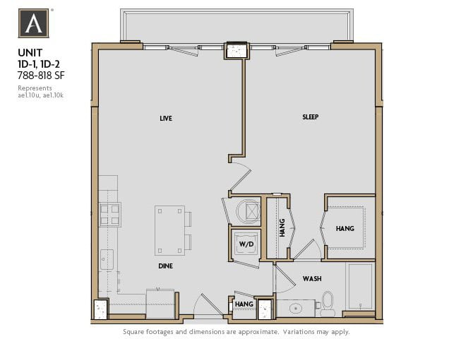 1D-1 | 1D-2 FloorPlan at Aertson Midtown, Tennessee, 37203