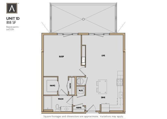 1D FloorPlan at Aertson Midtown, Nashville, TN, 37203