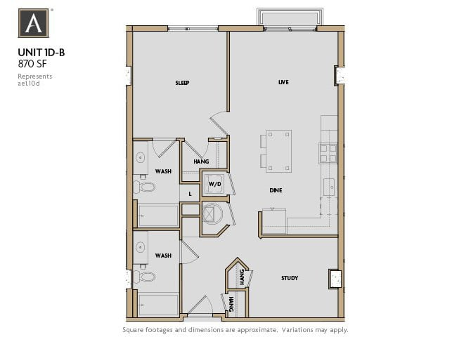 1D-B FloorPlan at Aertson Midtown, Nashville, TN
