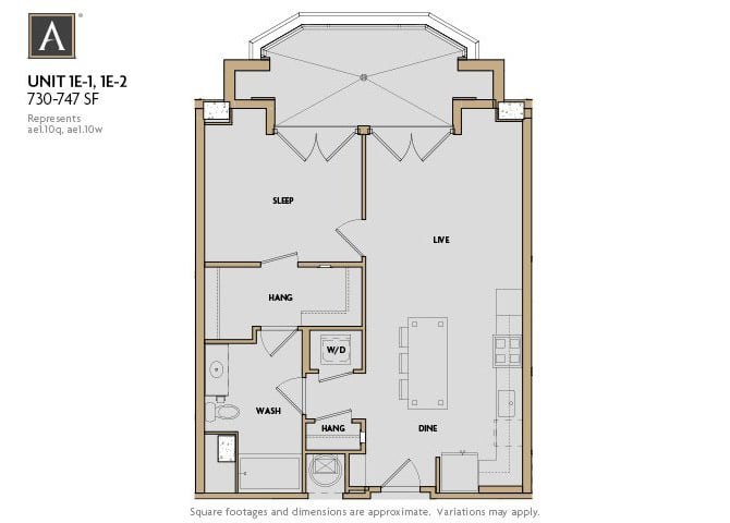 1E-1 | 1E-2 FloorPlan at Aertson Midtown, Nashville, TN, 37203