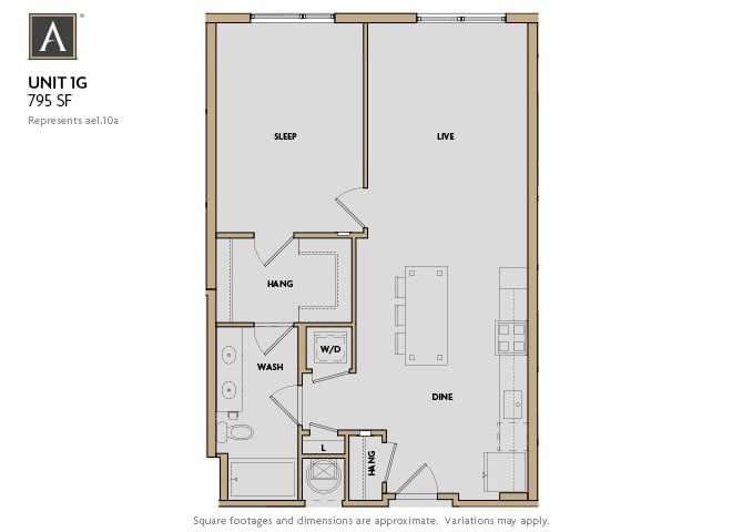 1G FloorPlan at Aertson Midtown, Tennessee