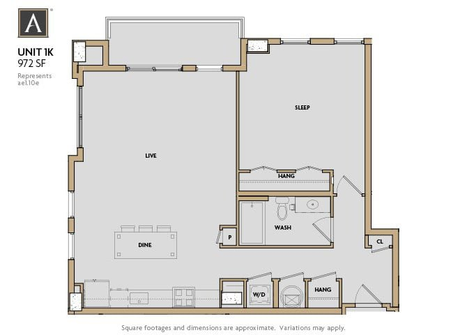 1K FloorPlan at Aertson Midtown, Nashville, Tennessee