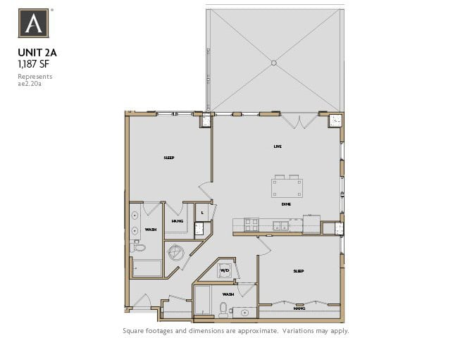 2A FloorPlan at Aertson Midtown, Nashville, Tennessee