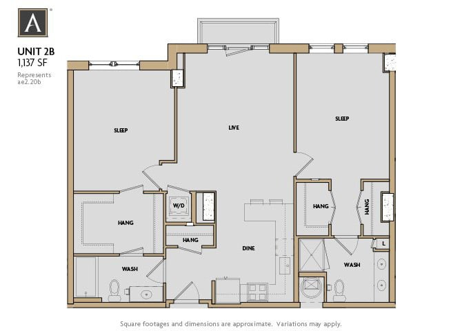 2B FloorPlan at Aertson Midtown, Nashville, TN, 37203