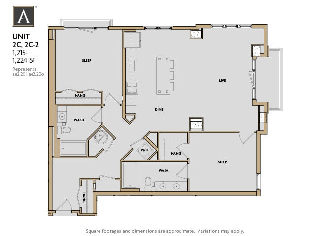 2C | 2C-2 FloorPlan at Aertson Midtown, Nashville, TN