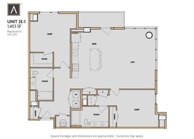 2E-1 FloorPlan at Aertson Midtown, Nashville, TN