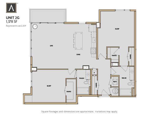 2G FloorPlan at Aertson Midtown, Nashville, Tennessee